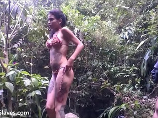 Outdoor domination and lesbian slave training of debutant latina submissive in s