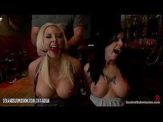 Two busty bondage lesbians gives deep throat blowjobs