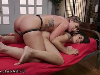 Lesbian slave rough anal strap on fucked