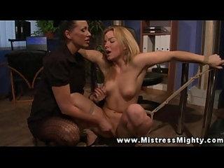 Lezdom mistress dominates over her sub