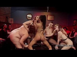 Bondage orgy anal strap on pounding